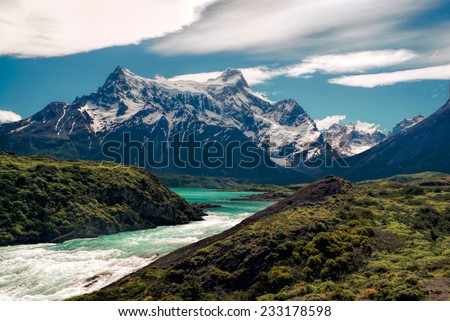 Picturesque view of river in Torres del Paine in south American Andes                    - stock photo
