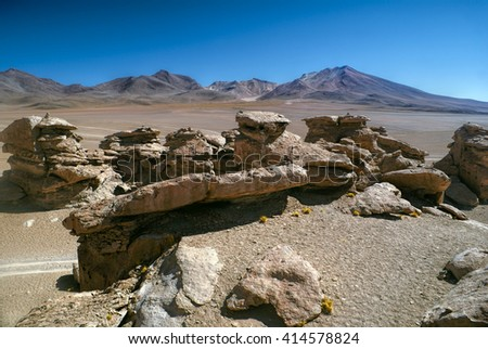 Picturesque view of rocks in bolivian desert near Salar de Uyuni in south american Andes - stock photo