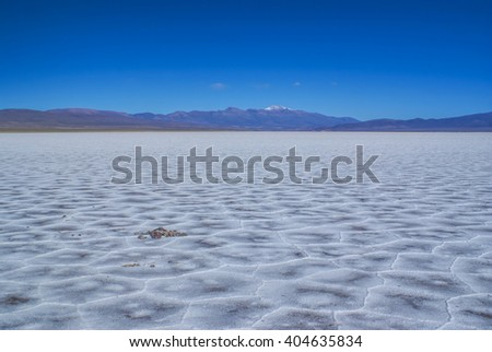 Picturesque view of salt planes Salina Grandes in Argentina