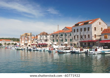 Picturesque view of Stari Grad on Hvar island, Croatia - stock photo