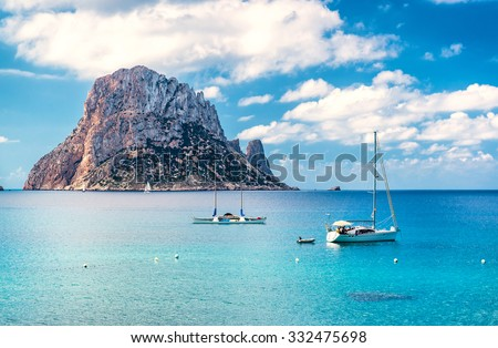 Picturesque view of the mysterious island of Es Vedra. Ibiza, Balearic Islands. Spain