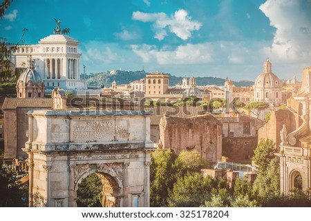 Picturesque View of the Roman Forum in Rome in Italy - stock photo
