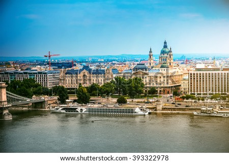 picturesque view on Budapest and Danube - stock photo