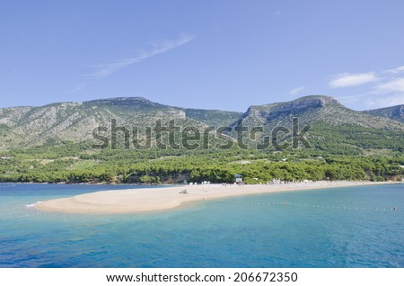 Picturesque view on Golden Horn beach. Croatia Zlatni rat (Golden Horn) beach. Bol.  - stock photo
