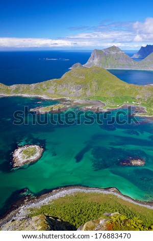 Picturesque view on Lofoten islands in Norway with high cliffs and deep fjords - stock photo