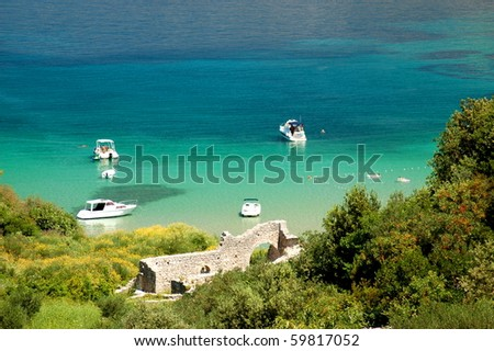 Picturesque view on sandy Lovrecina beach on Brac island, Croatia - stock photo