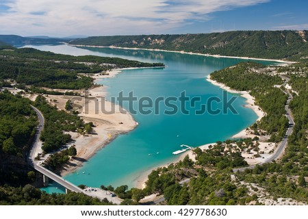 Picturesque view to Sainte Croix lake at the end of Verdon river in Provence - stock photo