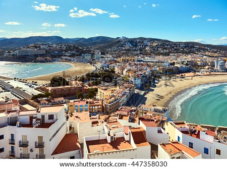 Picturesque view to the Peniscola two beaches, view from the castle. Costa del Azahar, province of Castellon, Valencian Community. Spain