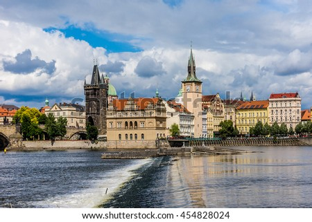 Picturesque views of banks of Vltava and the Old Town with its ancient architecture. Prague, Czech Republic.
