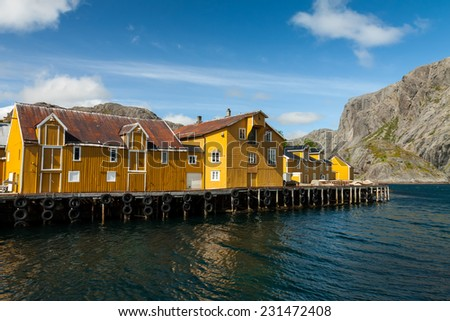 Picturesque village of Nusfjord on Lofoten islands, Norway, popular tourist destination - stock photo