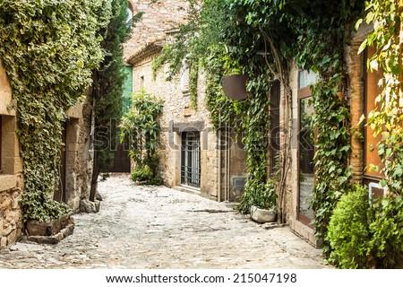 Picturesque village of Peratallada in the heart of Costa Brava. - stock photo