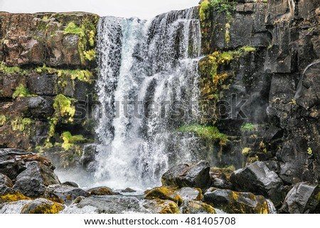 Picturesque Waterfall in Iceland