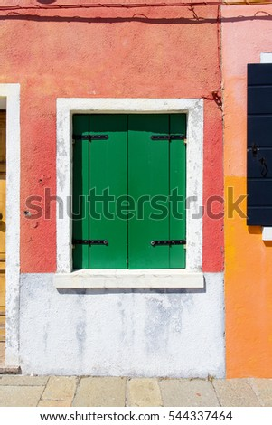 famous windows pink facade house green window shutters stock photo 107663600