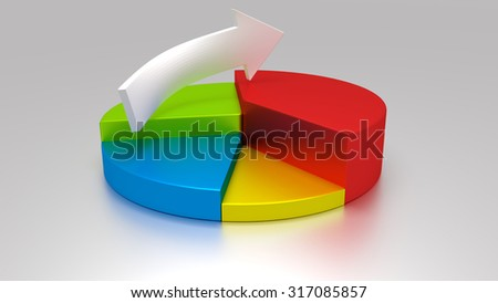 Pie chart and arrow on gray background.