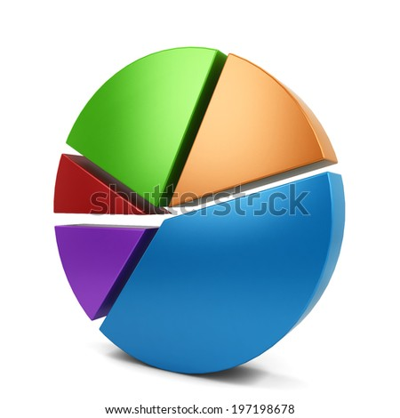 Pie chart. 3d illustration isolated on white background