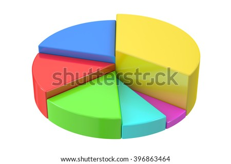 Pie chart 3D rendering isolated on  white background