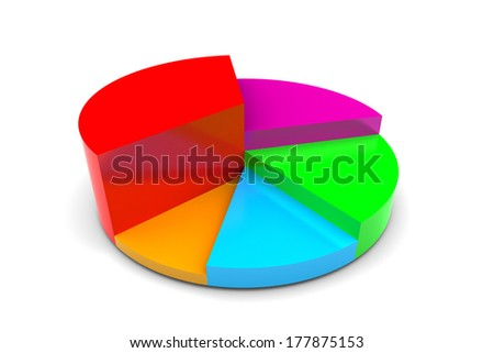 Pie chart diagram  illustration on white background