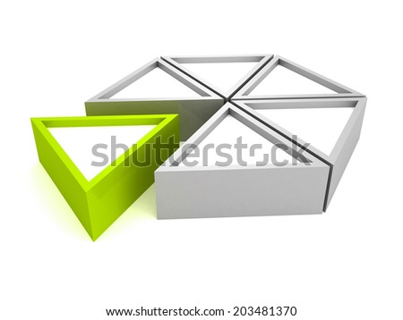 pie chart diagram with green piece. 3d render illustration - stock photo
