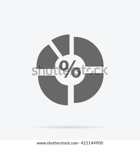 Pie chart flat sign design concept. Graph pie, infographics and pie chart, diagram marketing, report data, circle statistic, finance presentation, market information financial illustration - stock photo
