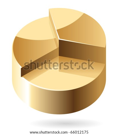 Pie chart made of gold. Raster version. For vector version of this image, see my portfolio.