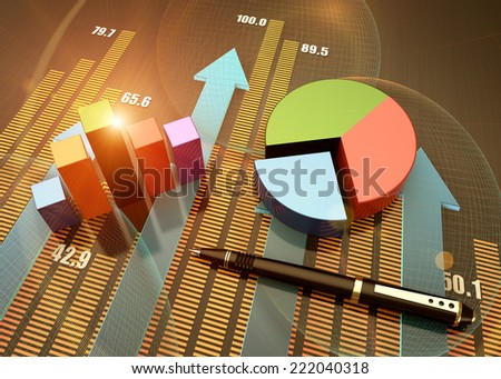 Pie chart of the annual balance - stock photo
