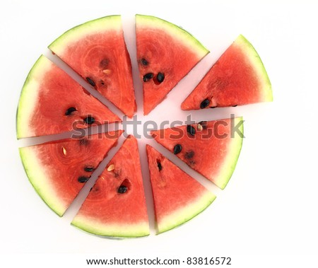 Pie chart of watermelon slices - stock photo