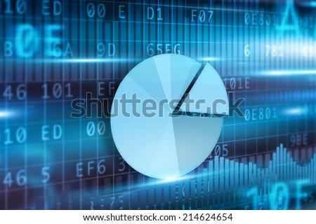 Pie-chart on futuristic background blue pie-chart - stock photo