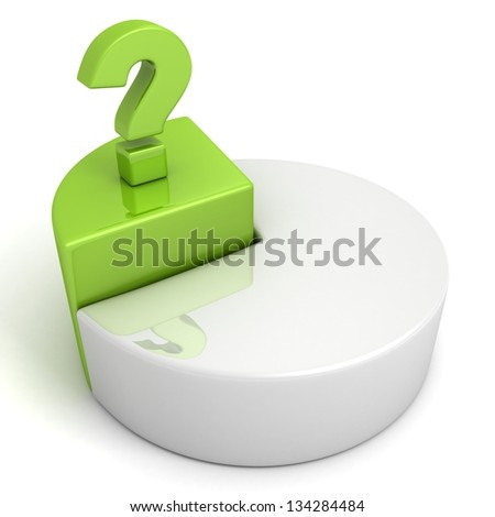 Pie chart with green part and question mark on white background - stock photo