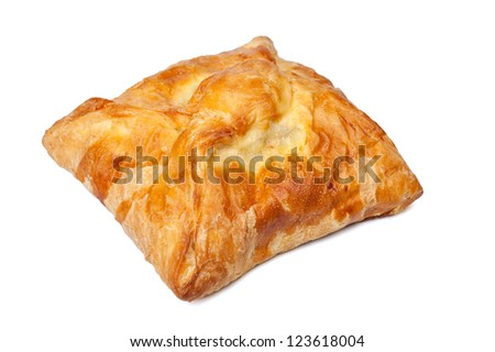 pie from flaky pastry on a white background - stock photo