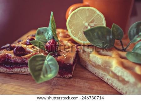 pie pasty cake scone cupcake patty biscuit baking sandwich berry fruit cherry foliage leaf lemon lime limes - stock photo