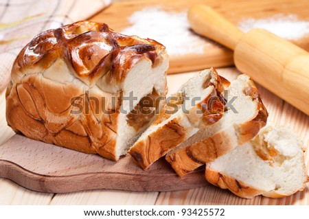 Pie stuffed with apples cooked at home. - stock photo