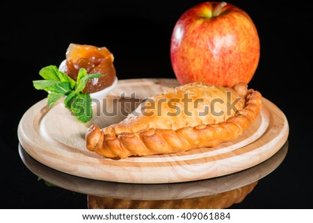 pie with apple jam - stock photo