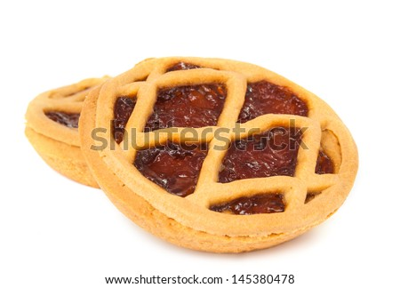 Pie with berry filling isolated on a white background