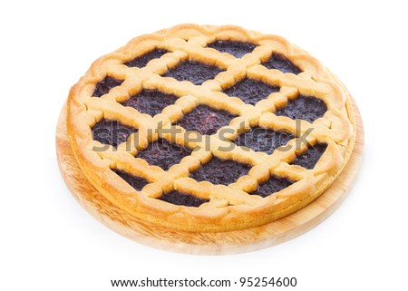 Pie with blueberries on white background