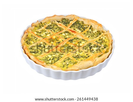 Pie with cheese and herbs in baking form