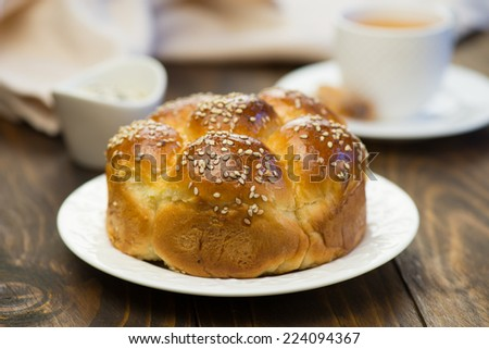 Pie with cheese and sesame seeds