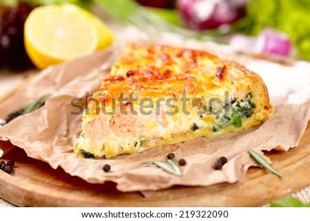 Pie with salmon - stock photo
