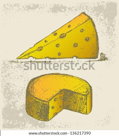 Piece cheese. Grunge style. Raster version - stock photo