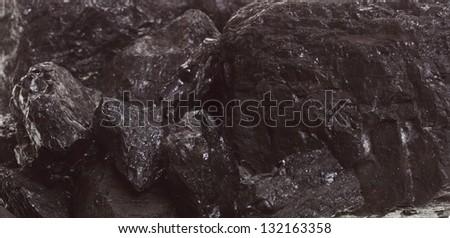 Piece coal closeup macro texture background - stock photo