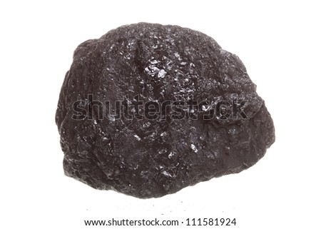 Piece coal isolated over white background - stock photo