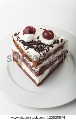 piece of a black forest cake - stock photo