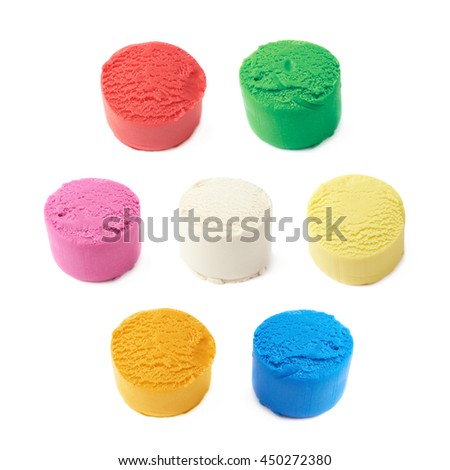 Piece of a modelling clay isolated over the white background, set of seven different colors - stock photo