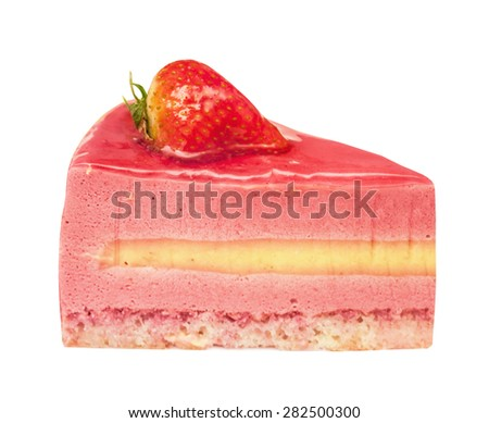 Piece of a yogurt strawberry pie. It is decorated with glaze and strawberry. Isolated on the white. - stock photo