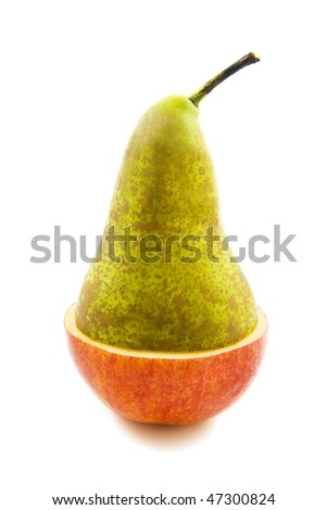 Piece of apple and a piece pear isolated over white