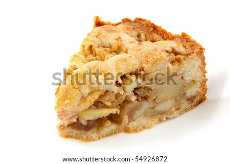 Piece of apple pie isolated on white background - stock photo