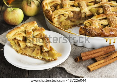 Piece of apple pie on a dark wooden background