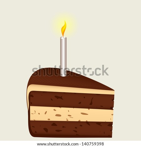 Piece of birthday cake and a burning candle. Composition on a light background.