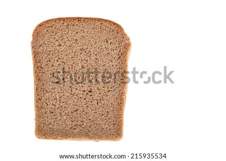piece of black bread isolated on a white background - stock photo