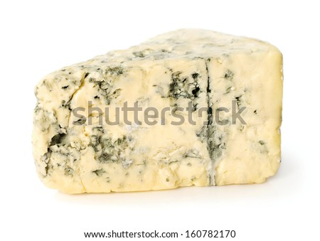 piece of blue cheese isolated on a white
