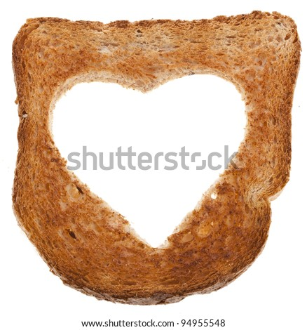 piece of bread toast cut hole in shape of heart Isolated on white background
